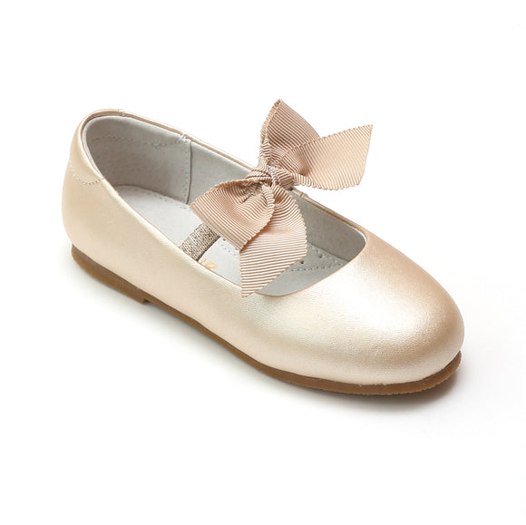 L'Amour Girls Pauline Bow Champagne Leather Special Occasion Flat - Babychelle.com