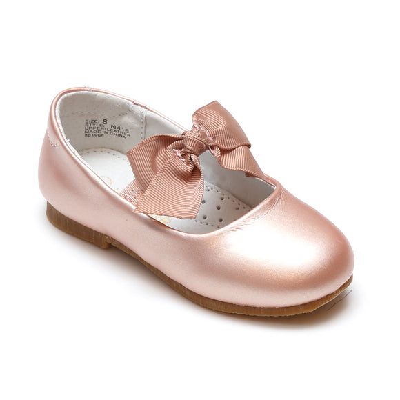 L'Amour Girls Pauline Bow Pink Gold Leather Special Occasion Flat - Babychelle.com