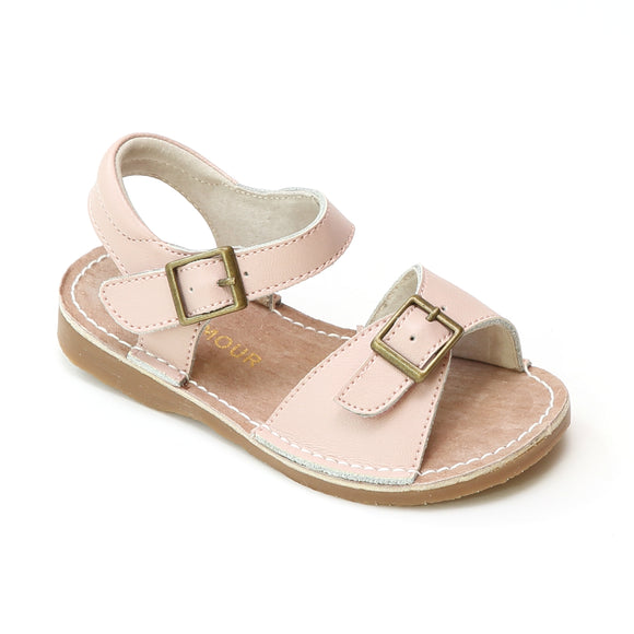 L'Amour Girls Olivia Dusty Pink Buckled Open Toe Leather Sandals - Babychelle.com