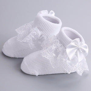 Baby Girls Baptism White Lace Bow Socks - Babychelle.com