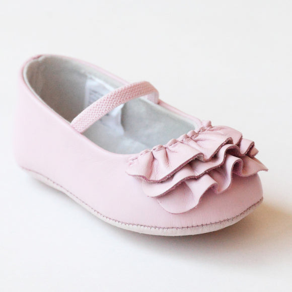 L'Amour Infant Girls C-330 Pink Ruffle Mary Janes