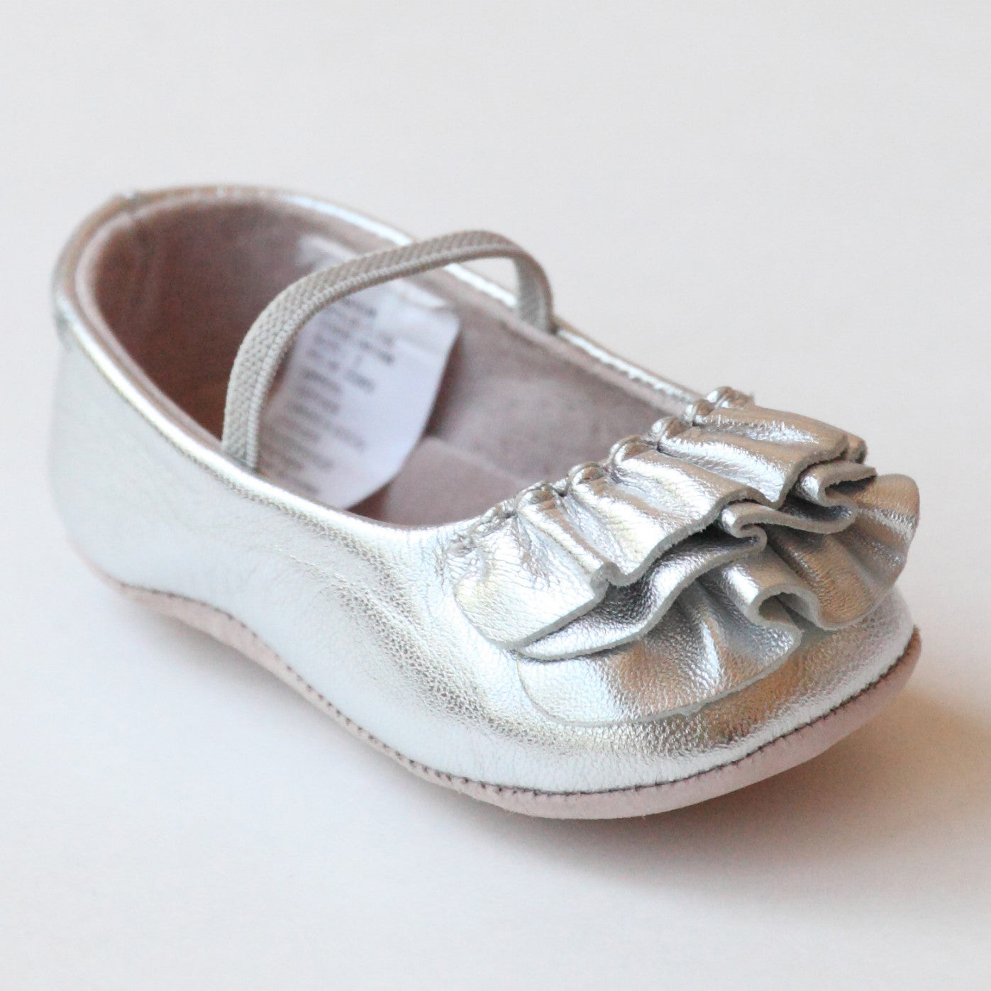 L Amour Infant Girls C 330 Silver Ruffle Mary Janes – Babychelle