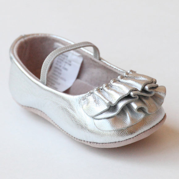 L'Amour Infant Girls C-330 Silver Ruffle Mary Janes
