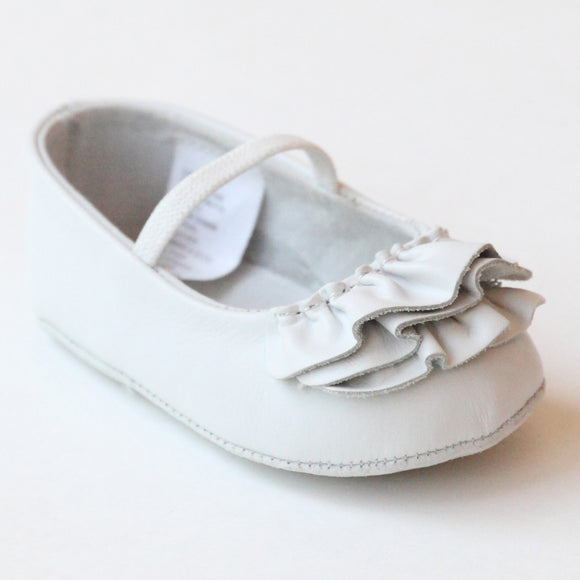 L'Amour Infant Girls C-330 White Ruffle Mary Janes