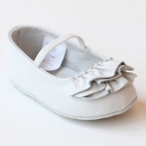 L Amour Shoes Infant Girls C 330 White Ruffle Mary Janes
