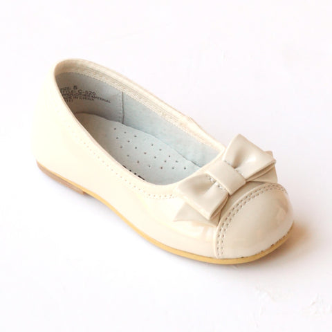 L'Amour Girls C-520 Patent Cream Bow Dress Flats
