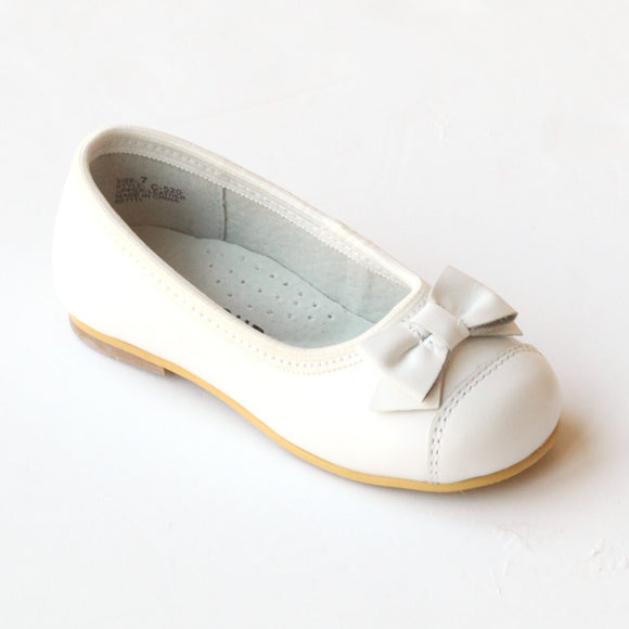 L'Amour Girls C-520 White Bow Dress Flats