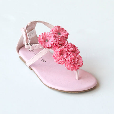 L'Amour Girls C-611 Pink Flower Thong Sandals