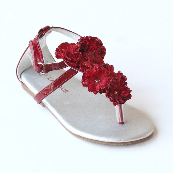 L'Amour Girls C-611 Red Flower Thong Sandals