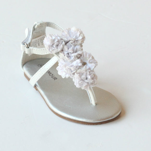 L'Amour Girls C-611 White Flower Thong Sandals