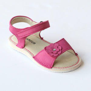 L'Amour Girls C-730 Nubuck Fuchsia Flower Double Strap Sandals