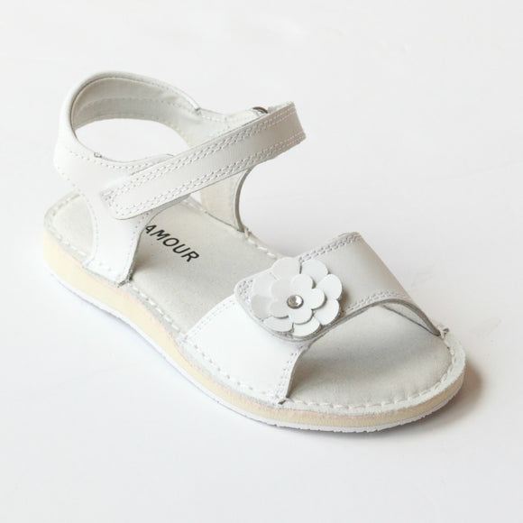 L'Amour Girls C-730 White Flower Double Strap Sandals