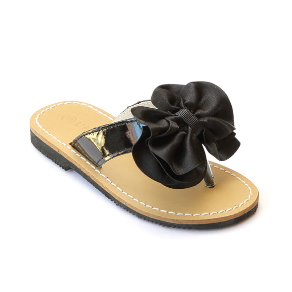 L'Amour Girls Black Satin Bow Sandals - Babychelle.com