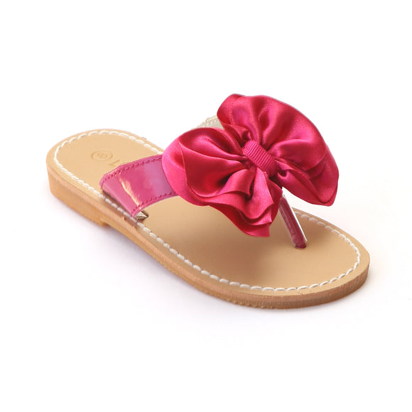 L'Amour Girls Fuchsia Satin Bow Sandals - Babychelle.com