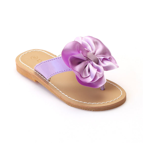L'Amour Girls C-750 Lilac Satin Bow Sandals - Babychelle.com