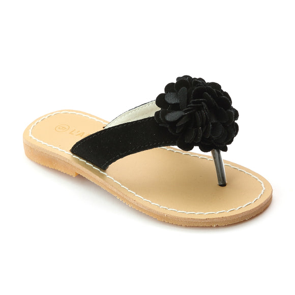L'Amour Girls Black Pom Pom Nubuck Leather Thong Sandals - Babychelle.com