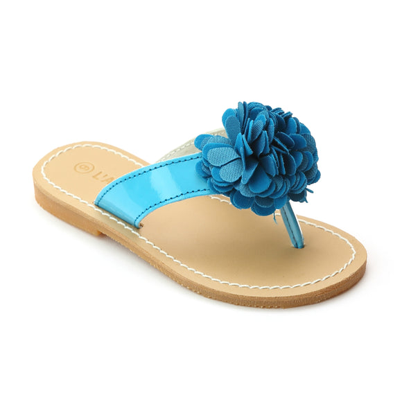 L'Amour Girls Blue Pom Pom Thong Sandals - Babychelle.com