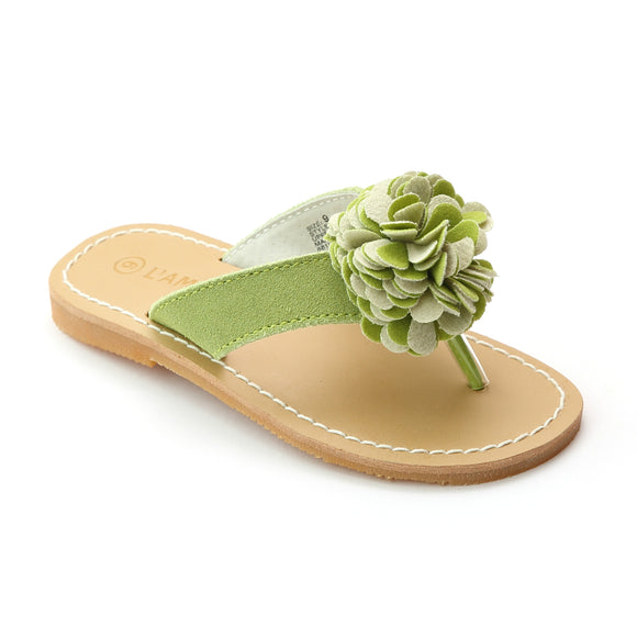 L'Amour Girls Lime Pom Pom Nubuck Leather Thong Sandals - Babychelle.com