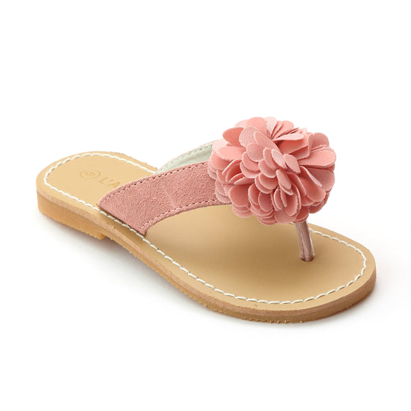 L'Amour Girls Pink Pom Pom Leather Thong Sandal - Babychelle.com