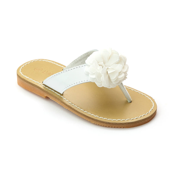 L'Amour Girls C-790 White Pom Pom Sandals - Babychelle.com