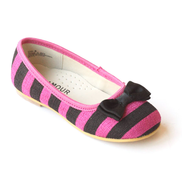 L'Amour Girls C-820 Fuchsia Striped Linen Canvas Bow Flats