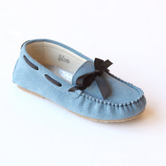 L'Amour Girls C-840 Blue Leather Loafers with Bow