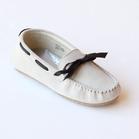 4b17c7577c5 L Amour Girls C-840 Cream Gray Leather Loafers with Bow