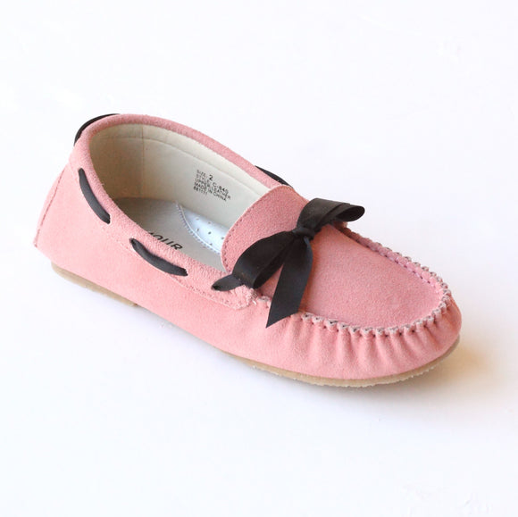 L'Amour Shoes Girls C-840 Pink Leather Loafers with Bow – Babychelle