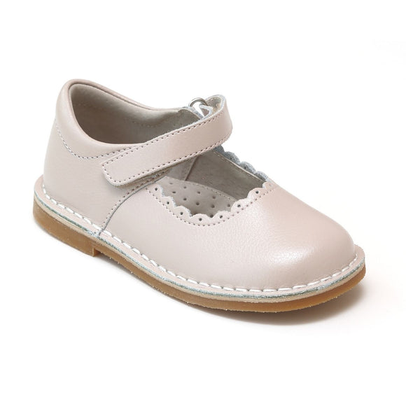 Toddler Girls Classic Almond Scalloped Stitch Down Mary Janes by L'Amour Shoes - Babychelle.com