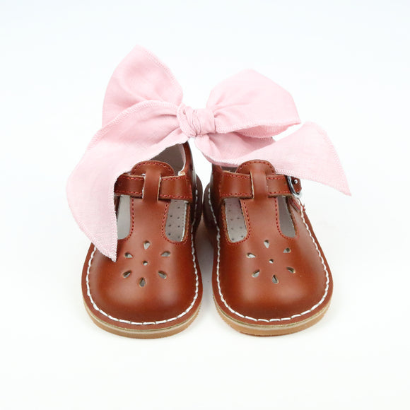 L'Amour Girls Cognac T-Strap Mary Janes