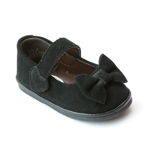 Angel Infant Girls D248 Black Nubuck Leather Bow Mary Janes - Babychelle.com