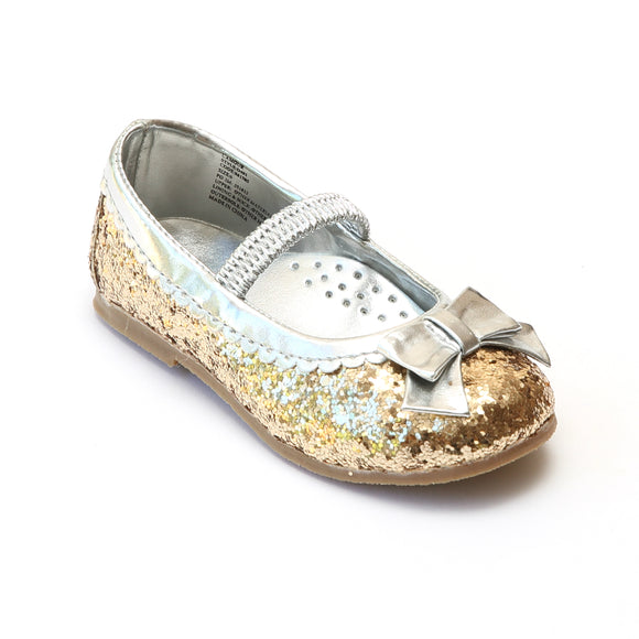L'Amour Girls Glitter Gold Bow Flats - Babychelle.com