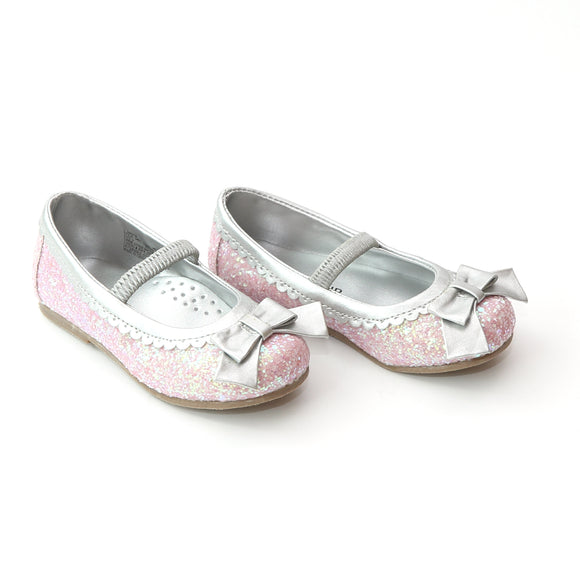 L'Amour Girls Glitter Pink Silver Bow Flats - Babychelle.com