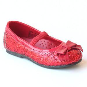 L'Amour Girls D401 Glitter Red Bow Flats