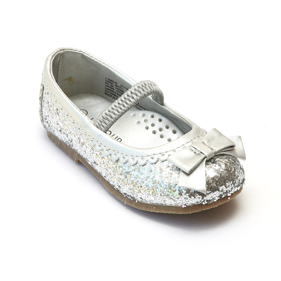 L'Amour Girls Glitter Silver Bow Flats - Babychelle.com