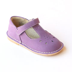 L'Amour Girls Classic D502 Purple Nubuck Leather Mary Janes