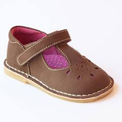 L'Amour Girls Classic D502 Brown Nubuck Leather Mary Janes