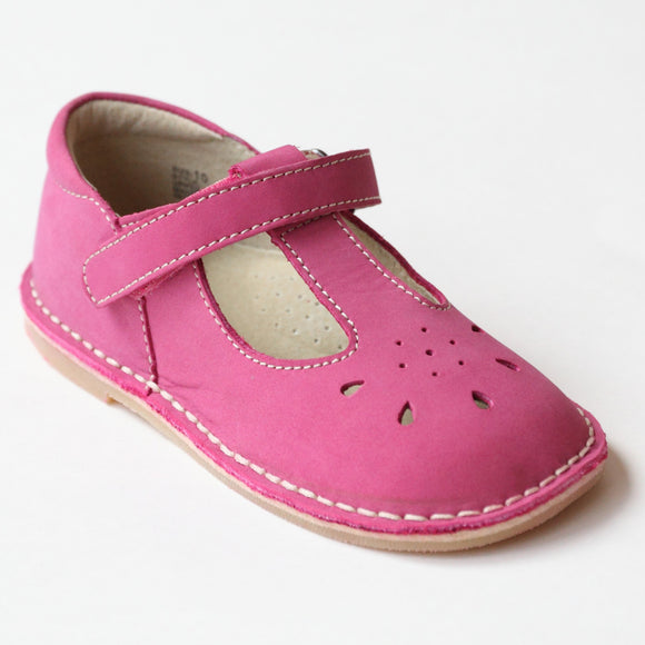L'Amour Girls Classic D502 Fuchsia Nubuck Leather Mary Janes