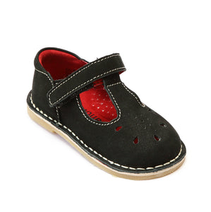 L'Amour Girls Classic Black Nubuck Leather Mary Janes - Babychelle.com