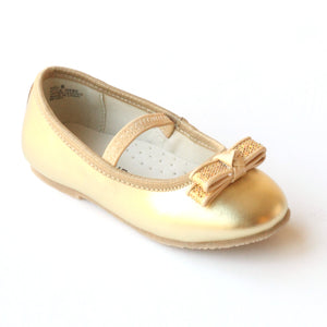 L'Amour Girls D580 Gold Dual Bow Ballet Flats