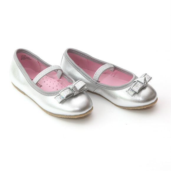 L'Amour Girls D580 Silver Dual Bow Ballet Flats - Babychelle.com