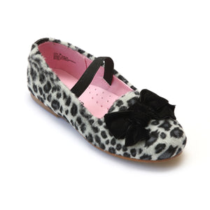 L'Amour Girls Furry Leopard Black Flats - Babychelle.com