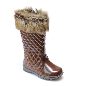 L'Amour Girls Patent Brown Faux Fur Cuff Boots - Babychelle.com