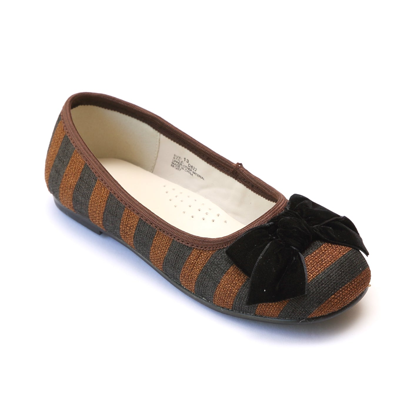 L'Amour Girls Brown Striped Linen Canvas Bow Flats ...