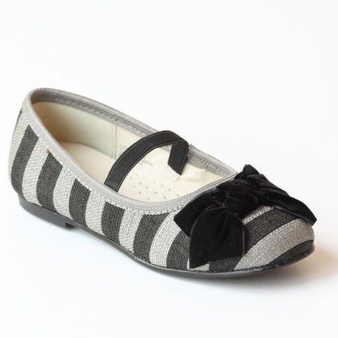 L'Amour Girls D822 Gray Striped Linen Canvas Bow Flats