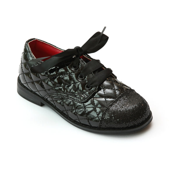 L'Amour Girls Black Quilted Fashion Oxfords