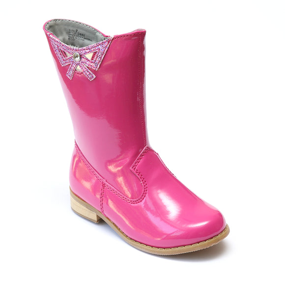 L'Amour Girls Patent Fuchsia Cutout Bow Fashion Boots - Babychelle.com
