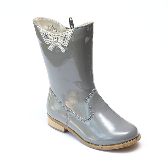 L'Amour Girls Patent Gray Cutout Bow Fashion Boots - Babychelle.com