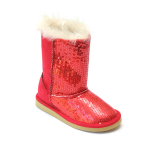 L'Amour Girls D930 Red Sequin Boots - Babychelle.com