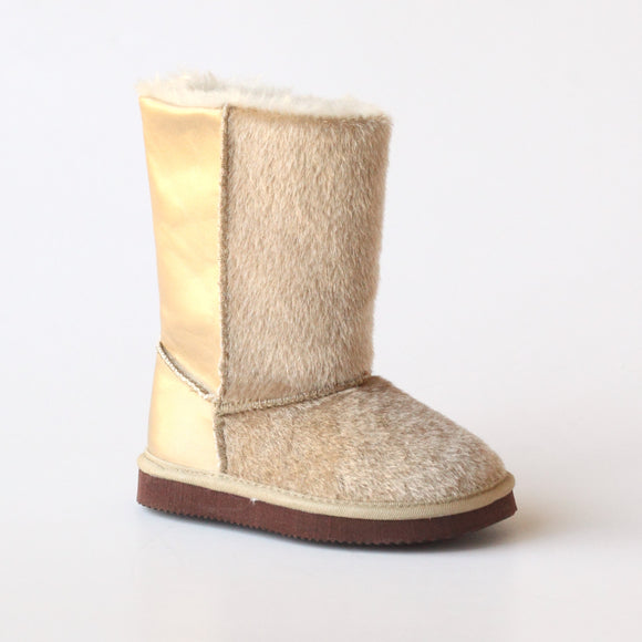 L'Amour Girls D970 Tan Furry Boots
